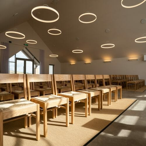 Solid Oak and Sea Grass Seating with Halo Lighting